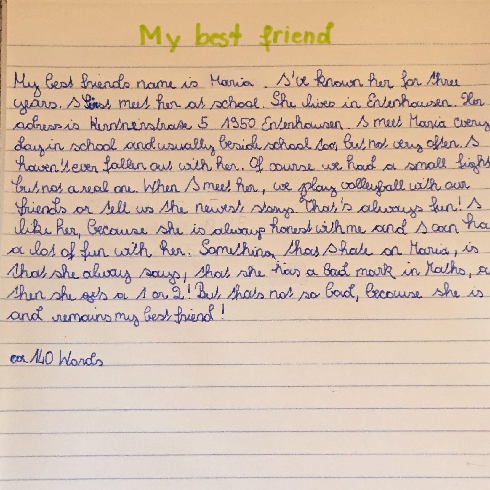 Ist Dieser Englische Text über Den Besten Freund Richtig Geschrieben Englisch Hauptschule