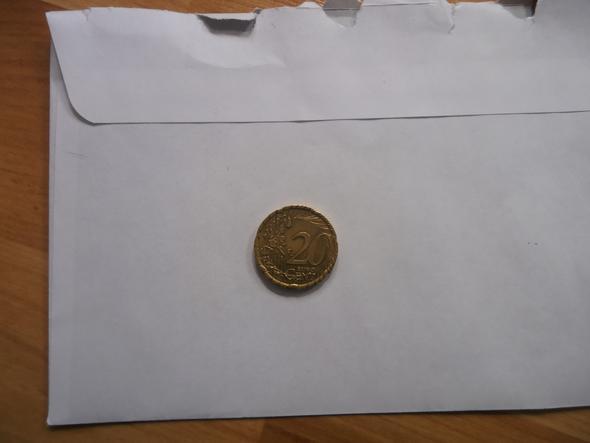 20 Cent Münze mit Rillenkranz - (Muenzen, Fehlprägung)