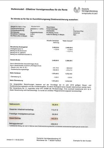Modellrechnung - (Altersvorsorge, betriebliche Altersvorsorge, deutsche-vermoegensberatung)