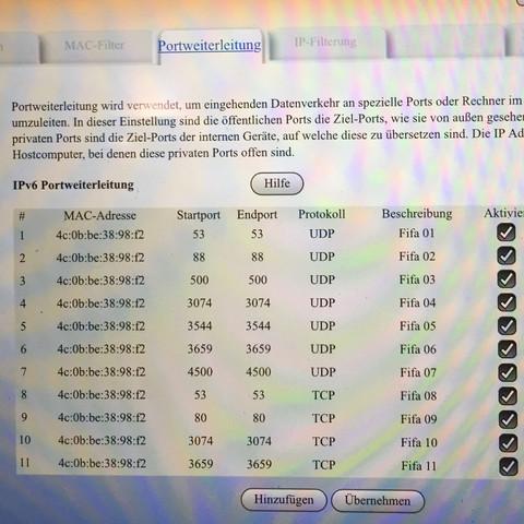 Fifa Ports - (Fifa, Router, XBOX ONE)