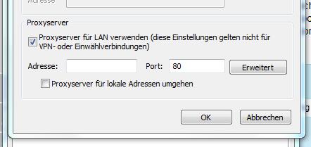Hier kann man einen Proxy-Server einstellen, der angesteuert werden soll. - (Computer, PC, Internet)