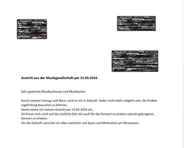 Mein Austrittsschreiben  - (Verein, Austritt, musikverein)