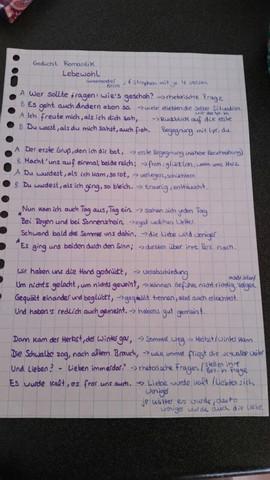 gedicht mit Notizen - (Schule, deutsch, Gedicht)