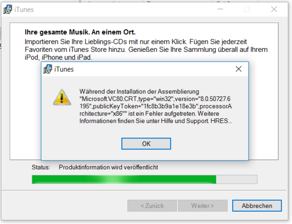 Fehlermeldung - (Apple, iTunes, Windows 10)