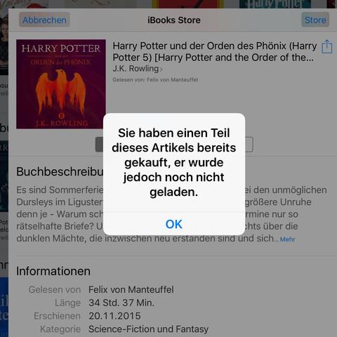 Hier ist die fehler meldung - (iTunes, Hörbuch, Laden unmöglich)
