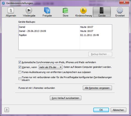 Bearbeiten -> Einstellungen -> Geräte - (iPhone, iTunes, Backup)