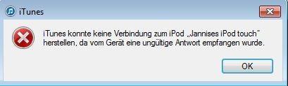 Ungültige Antwort - (Computer, Windows 7, iTunes)