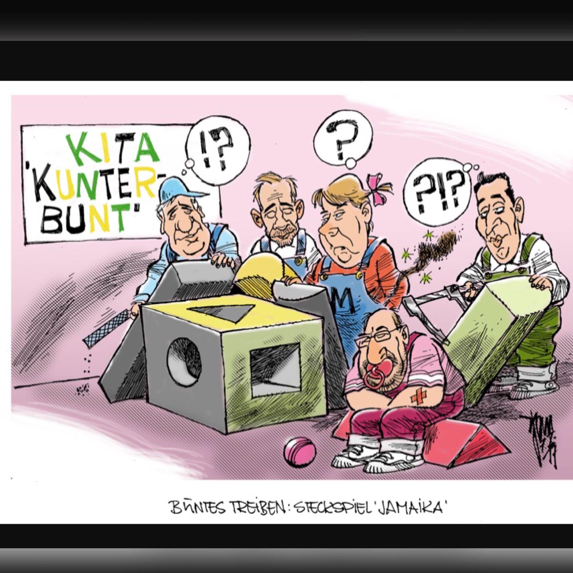 Jamaika Koalition Karikatur Politik Spd Cdu