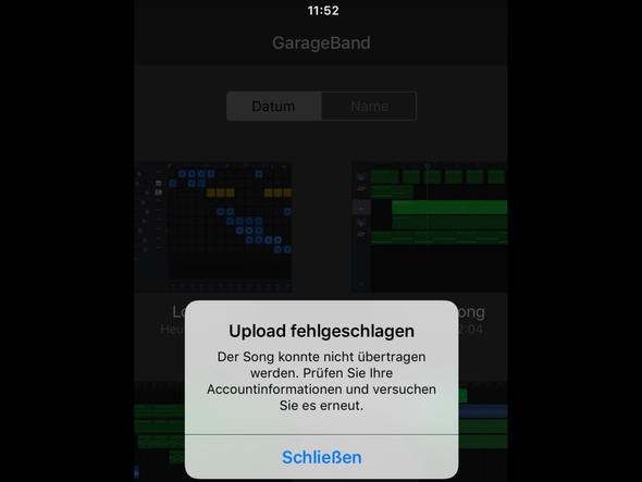 Hier nach dem Upload auf GarageBand  - (Musik, Apple, ios)