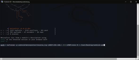 Kali Linux - Metasploit - .apk kann nicht erstellt werden (mit Bild)?