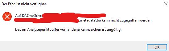 Kann auf OneDrive Datei nicht löschen - CHKDSK Fehlersuche?