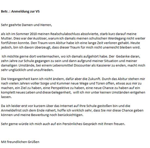 Motivation-Begründungsschreiben  - (deutsch, Grammatik, Rechtschreibung)