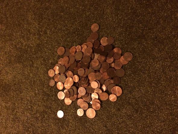 Alles 5,2,1 ct Stücke. - (Geld, Bank, Geld einzahlen)