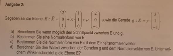 Kann ich den Schnittpunkt Gerade - Ebene ohne Stützvektor berechnen?
