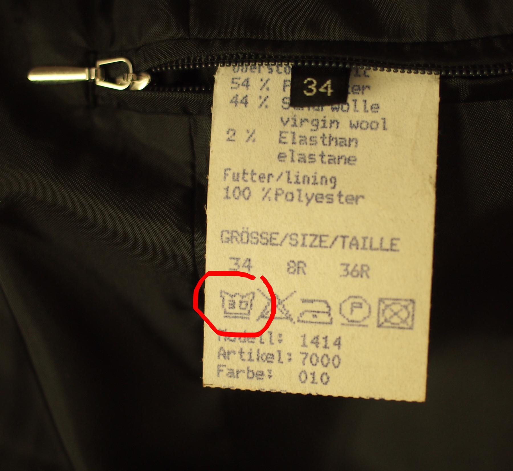 kann ich diesen blazer mit der waschmaschine waschen. Black Bedroom Furniture Sets. Home Design Ideas