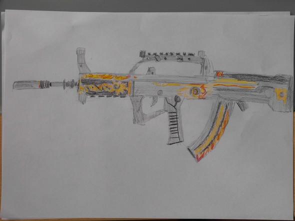 QBZ 95 Flame, Waffe - (Kunst, malen)