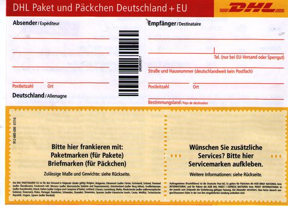 kann ich mit diesen dhl zettel nach austria ein paket sende post. Black Bedroom Furniture Sets. Home Design Ideas