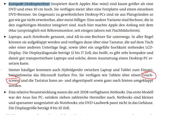 Kann ich sagen: Klarer Unterschied zwischen Laptop und Tablet ist dass Tablet Touchscreen ha t und Laptop nicht?