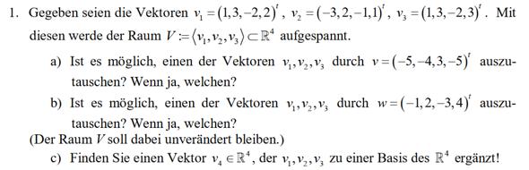 Kann ich zwei linear abhängige vektoren austauschen ohne den Raum zu verändern?