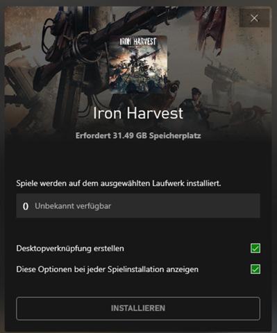 Kann Iron Harvest im Xbox Launcher nicht installieren?