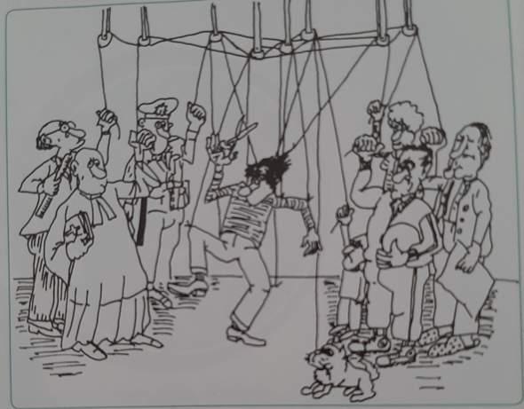 Kann jemand die Deutung der Karikatur erklären?