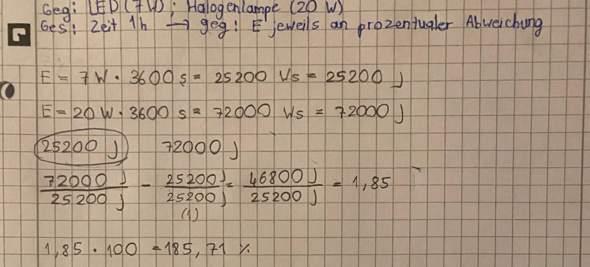 Kann jemand diese Aufgabe kontrollieren (Physik -Leistung und Energiestromstärke)?