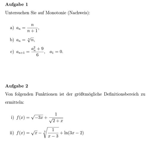 Aufgabe 1+2 - (Mathe, Aufgabe)