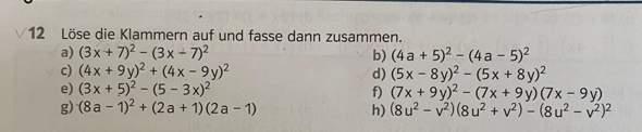Kann jemand mir bei der Aufgabe 12b helfen (Binomische Formeln)?