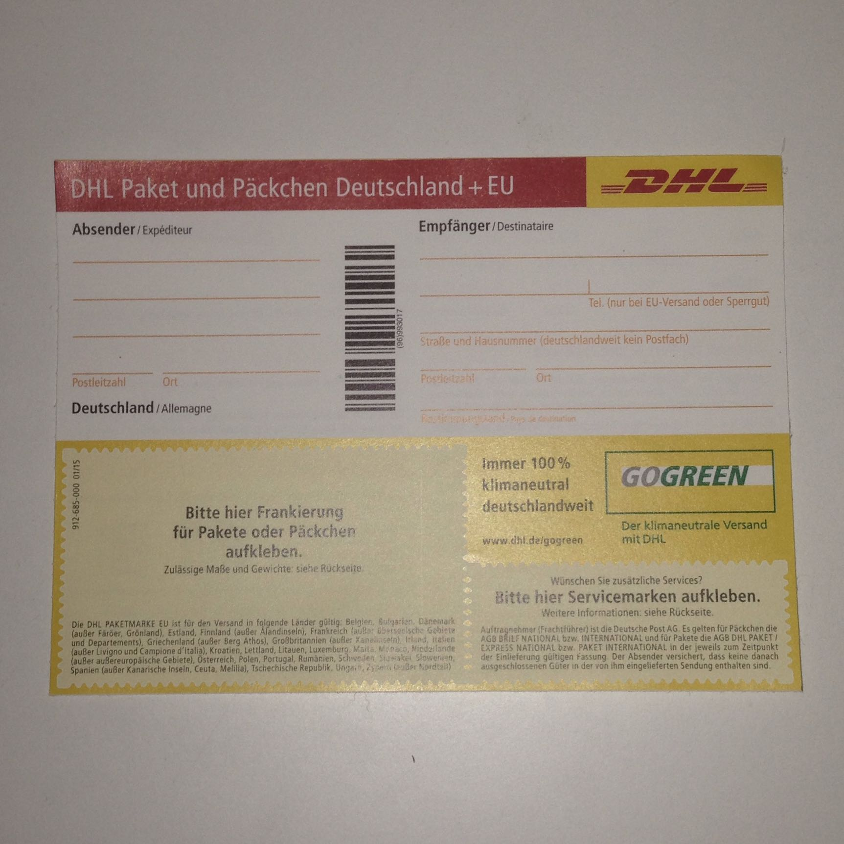 kann man die aufkleber von dhl auch auf briefe kleben post paket brief. Black Bedroom Furniture Sets. Home Design Ideas