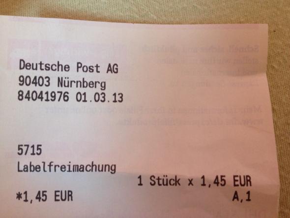 BELEG  - (DHL, Deutsche Post, warensendung)