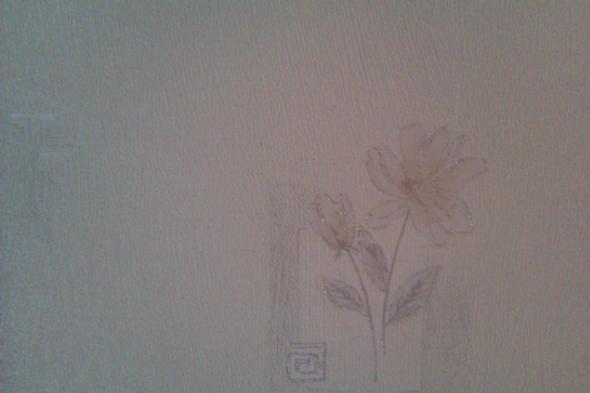 Raufasertapete mit bedruckten Blumen - (Maler, streichen, Tapete)