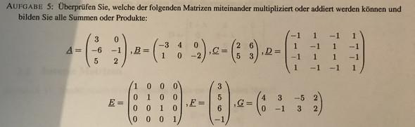 Kann man in diesem Fall BxG rechnen (Matrix)?