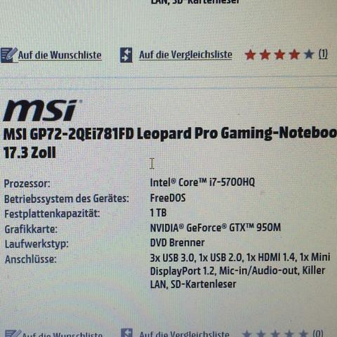 Msi Laptop  - (Spiele)