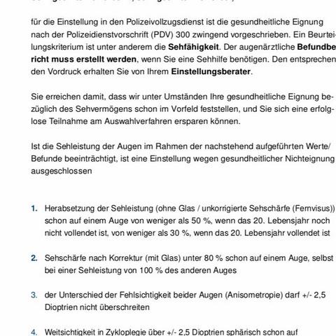 Info zur Sehstärke  - (Ausbildung, Polizei, bewerben)