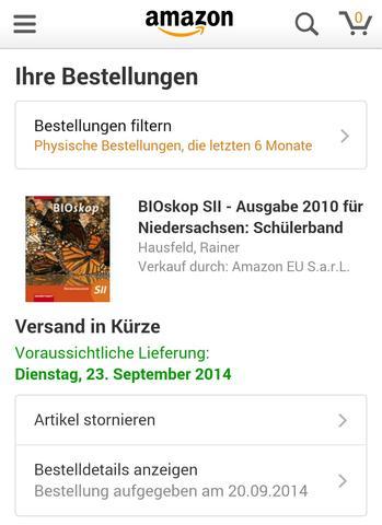 Versanddatum - (Internet, Amazon, Versand)