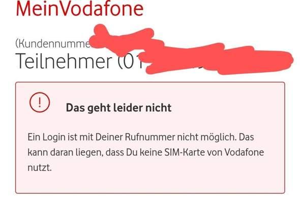 kann mich nicht bei Meinvodafone registrieren?