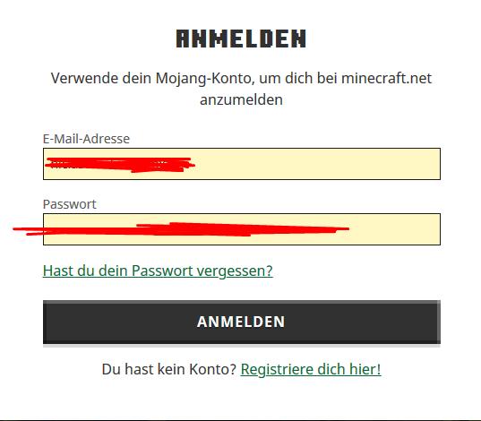 Minecraft Anmelden