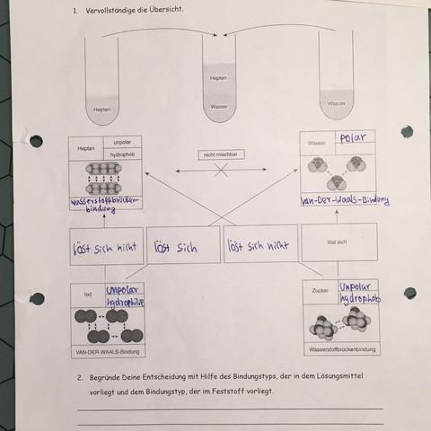 Kann mir bitte jemand bei diesem Arbeitsblatt in Chemie helfen ...