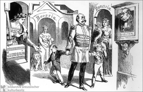 Bismarck führt Elsaß und Lothringen ins Reich ein (1871) - (Karikatur, bismarck, Elsas und Lothringen)