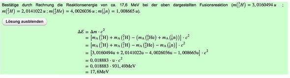Beispiel Aufgabe - (Kernspaltung, Atomphysik)