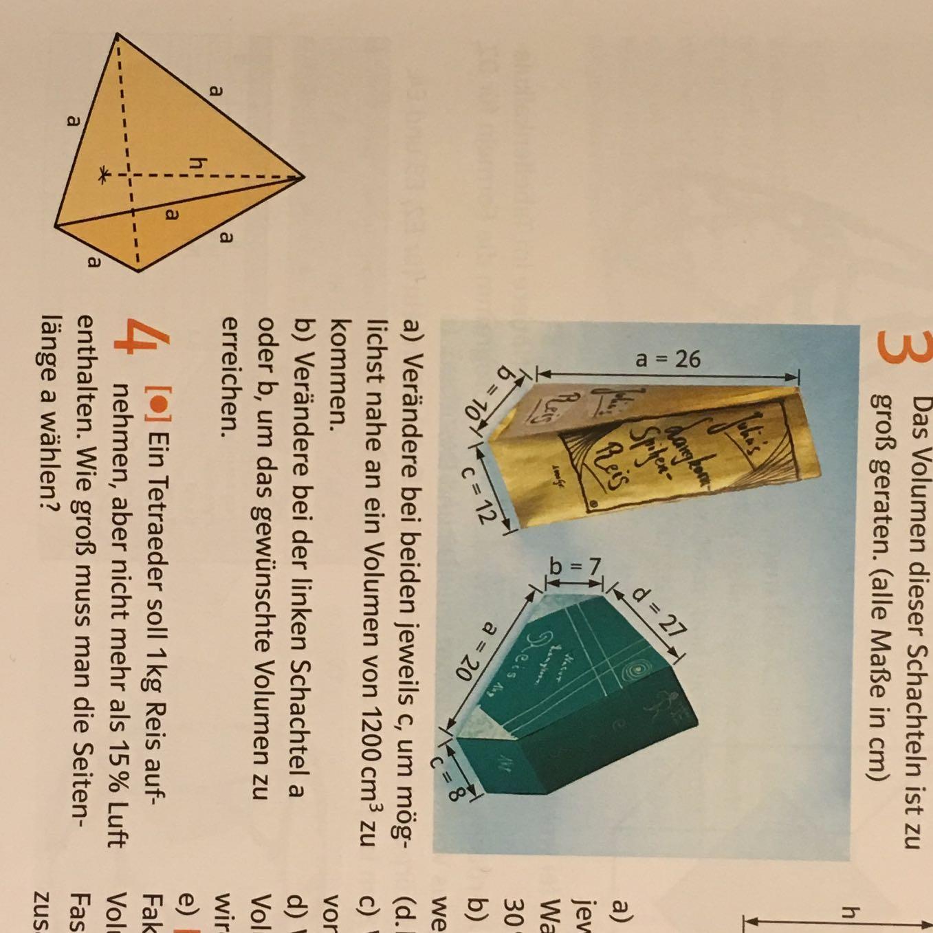 Kann mir bitte jmd die Aufgaben erklären? (Mathematik, Volumen ...
