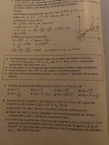 Kann mir jemand bei diesen Matheaufgaben helfen zum Thema Ableitung von Funktionen?