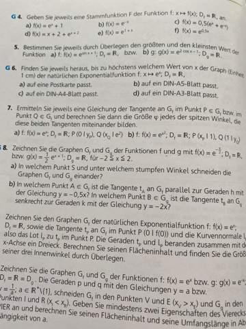 Kann mir jemand bei dieser Exponentialfunktions-Aufgabe helfen?