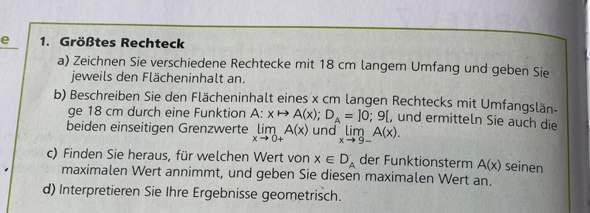 Kann mir jemand bei dieser Extremwertprobleme-Aufgabe helfen ?