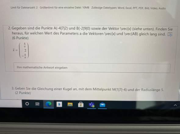 Kann mir jemand bei dieser Mathematik-Aufgabe helfen?