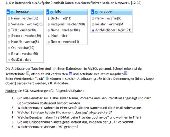 Kann mir jemand bei dieser SQL Datenbank Aufgabe helfen?