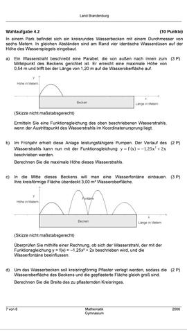 Aufgabe - (Mathe, Quadratische Funktionen)