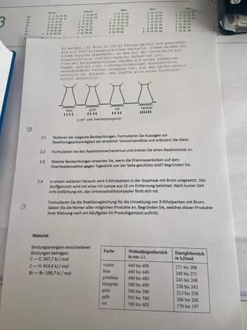 Kann mir jemand bei meinen Chemieaufgaben helfen?