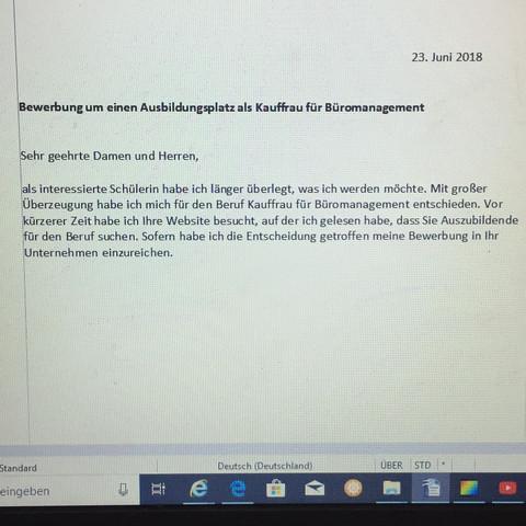 das ist die einleitung meiner bewerbung schule deutsch ausbildung - Buromanagement Bewerbung