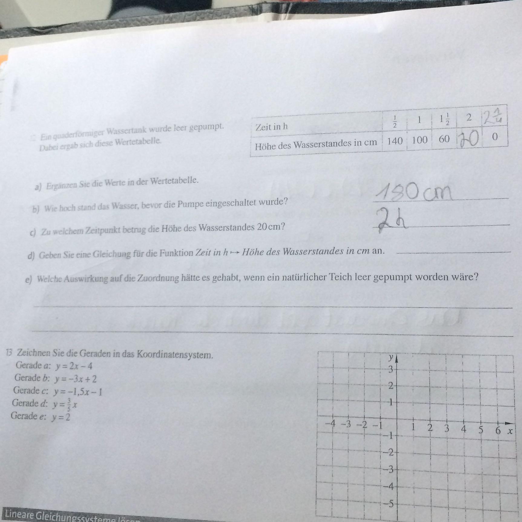 Wunderbar Einer Tabelle 8Klasse Zeitgenössisch - Mathe Arbeitsblatt ...